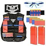 KOBWA Enfants Tactic Gilet kit pour Nerf Pistolets avec 40listes à puces,...