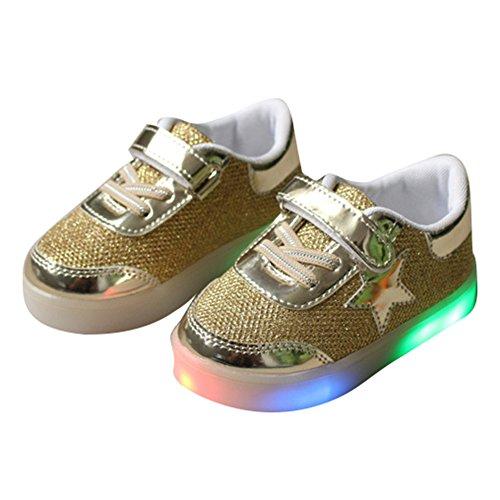 Sunching Jungen Mädchen Prewalk LED Schuhe Lingt Up Sneaker Gold