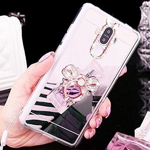 Custodia Cover per Huawei Nova, Ukayfe Cover Specchio Lusso Placcatura Lucido di Cristallo di Scintillio Strass Diamante Glitter Caso per iPhone 7 Plus[Crystal TPU] [Shock-Absorption] Protettiva Ultra Arco di Diamante Argento 3#