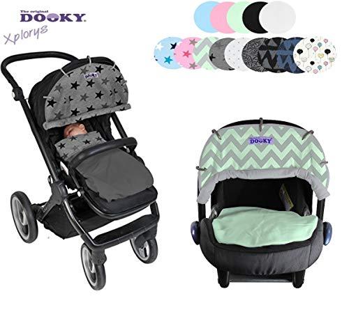 Original DOOKY ** Style UV+ 40 ** Universal Sonnenschutz/Sonnensegel/Sonnenblende für Kinderwagen und Babyschale (Mint/Grey)
