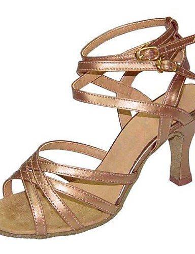 ShangYi Chaussures de danse ( Noir / Marron / Rouge / Argent / Autre ) - Non Personnalisables - Talon Bottier - Similicuir / Paillette -Latine / Black