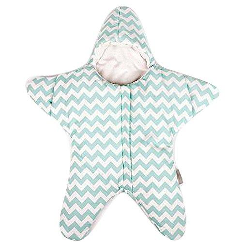 Gigoteuse bébé hiver nouveau né à pieds Coton Manches Longues -garcon -Fille pyjama enfant confort combinaison - Étoile de mer. (80*84cm, Vert)