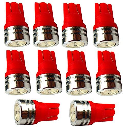 AERZETIX: 10x Ampoule T10 W5W 12V LED Rouge veilleuses éclairage intérieur seuils de Porte plafonnier Pieds Lecteur de Carte Coffre Compartiment Moteur Plaque d'immatriculation