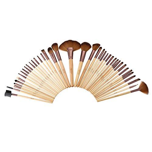 Abody Pinceau de maquillage pinceaux Kit professionnel cosmétiques maquillage manche bois Set Superfine Fibre d'Abdelkrim 40pcs + housse sac pochette