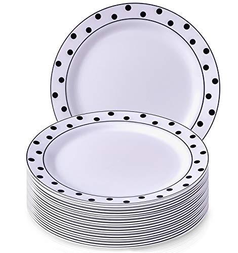 Charmant Pois Collection Blanc avec Noir à pois jetables rond Assiette à salade Dinnerware- Heavyweight Plastique 19,1 cm Round côté plaques