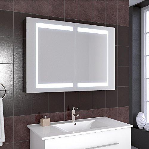 Bad Schrank – Spiegelschrank Aluminium 100 cm - 5