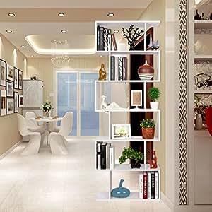 Homfa Scaffale Libreria Mobile Soggiorno in Legno Mobile per Archiviazion Carico 30 kg 70 × 23.5 × 190.5cm (Bianco)