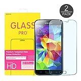 2-Pack Samsung Galaxy S5 protector de pantalla, GLCON superior de vidrio templado protector de...