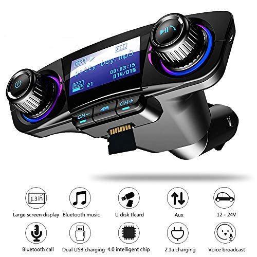 Top-Vigor - Kit de Coche Bluetooth de 1,3 Pulgadas transmisor FM, Bluetooth...