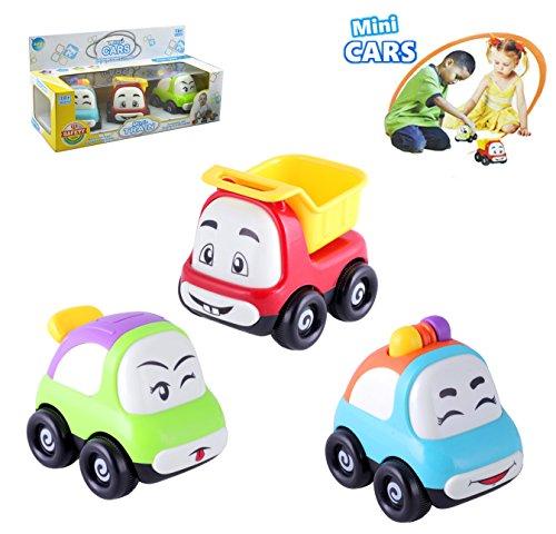 Baby Spielzeug Autos, 3 Stück Mini-Cartoon lächelndes Gesicht Reibung Powered Spielzeug-Autos und LKW, großer Spaß für Jungen, Babys und Kleinkinder.