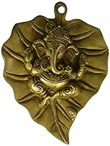 StatueStudio Brass Hindu god Lord Ganesha on Leaf Removable Wall Hanging Décor Art 9""