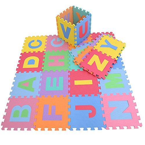 26 unidades de goma EVA para niños del alfabeto multicolor, set de unidades de rompecabezas interpuestas con patrón en forma de sierra para alfombra de suelo para juegos de KRAFTZ®