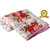 TRUSTFUL Cotton Gold Red Flowers Print Double Bed Reversible AC Blanket | Dohar | Quilt | Comforter | Duvet (Polycotton, Multicolor)