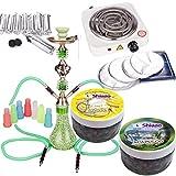 NOVESTE 55cm Grün Shisha Wasserpfeife Set, inkl. Hookah, Weiß Kohleanzünder, Shishakohle, Tinfoil, Mundstücke, und 200gr Shiazo Dampfsteine