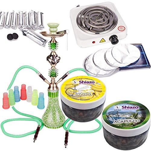 NOVESTE 55cm Grün Shisha Wasserpfeife Set, inkl. Hookah, Weiß Kohleanzünder, Shishakohle, Tinfoil, Mundstücke, und 200gr Shiazo Dampfsteine (Deluxe Gas-anschluss)