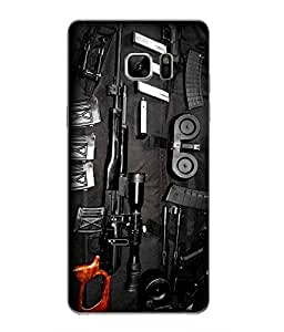 Snazzy Gun Printed Multicolor Hard Back Cover For Samsung Galaxy Note 7