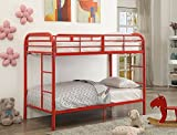 Major-Q Red Metal Tube Supported Twin over Twin Bunk Bed with Build-In 2 Side Ladders & Full Length Guard Rail (7002178RD)