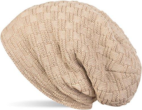 styleBREAKER warme Feinstrick Beanie Mütze mit Flecht Muster und sehr weichem Fleece Innenfutter, Unisex 04024058, Farbe:Sand