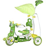 NHR Vega Boy's,Girl's,Kid's Musical Cartoon Tricycle With Rear Basket, Foot Rest, Back Support, Canopy (Green, AD_VEGA_DELUXE_GREEN)