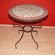 Jardín mesa de mosaico de piedra hecho a mano de hierro Herrero Marruecos diámetro 60 cm aproximadamente