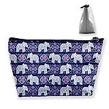 Bolsa de Maquillaje de Viaje - Purple Elephant Makeup Pouch Toiletry Storage Clutch Organizer con Cremallera para Mujeres y Hombres