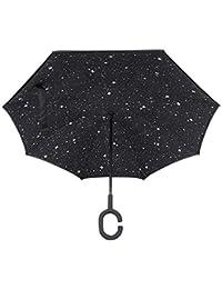 HMMJ Paraguas Reversible a Prueba De Viento, Paraguas Plegable de Doble Capa Invertida Con Forma de C Mango, Por Dentro Paraguas de Protección UV para Viajar y Uso del Coche