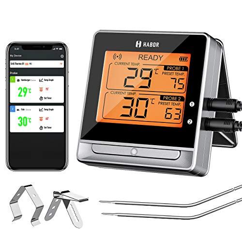 Habor Grillthermometer, Bratenthermometer, Digital Küchenthermometer, 60M Bluetooth Fleischthermometer mit Doppelsonde,Ofenthermometer Großes Display, 11 Köstliche Einstellungen für BBQ Grill Steak