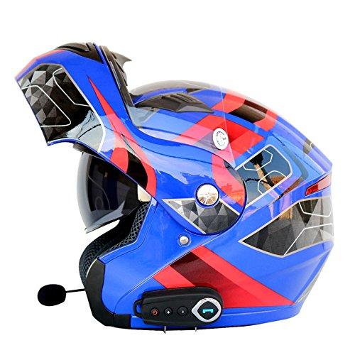 JPFCAK Motorrad Bluetooth Headset, Stereo-Sound, Kommt mit FM, Männlich und Weiblich, Double Lens Offenen Gesichts Helm, Cruiser, City, Roller Helm, Sport, ECE-Zertifizierung, L-2XL,Blue-L=59-60cm - Fm-stereo-headset