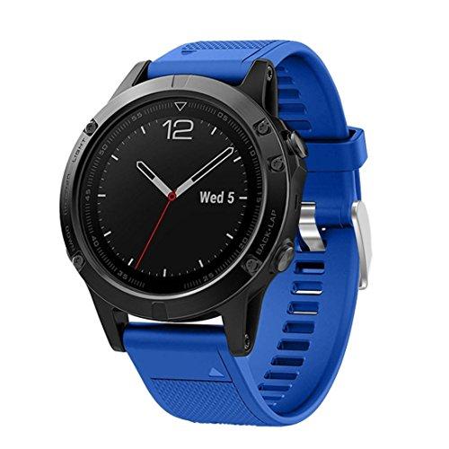 Correa de reloj OverDose correa de banda suave de instalación rápida para Garmin Fenix 5 GPS Watch (Azul)