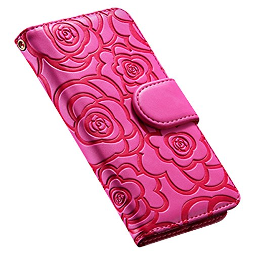 Custodia iPhone 6S, ISAKEN Custodia iPhone 6, iPhone 6 Flip Cover in Color, Elegante Fiori Pattern Design Custodia PU Pelle Protettiva Portafoglio Case Cover per Apple iPhone 6 4.7 / con Supporto di  rose: roseo