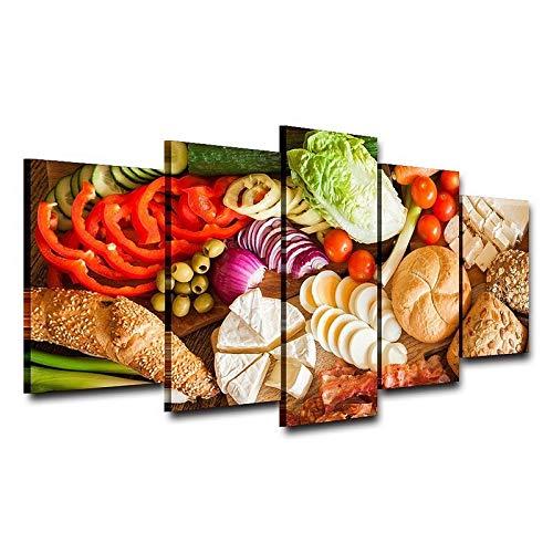 HQATPR Diamant Malerei Werkzeug Set Original Öl Tinte Leinwand Drucken Essen Gemüse Und Brot Auf Leinwand Wand Kunst Bild Home Decor (Crystal Brot-box)