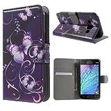 jbTec® Flip Case Handy-Hülle zu Samsung Galaxy J1 / SM-J100 - BOOK MOTIV - Handy-Tasche, Schutz-Hülle, Cover, Handyhülle, Ständer, Bookstyle, Booklet, Motiv / Muster:Schmetterlinge Lila S10