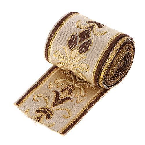 F Fityle 5m Webband Borte Zierband Beige Jacquard Stoffband ethnisch nähen basteln Borte für Kleidung, Hut, Kissen, Vorhang - 40 mm x 5000 mm - Beige Borte