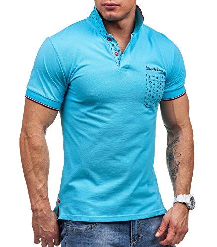 BOLF Herren T-shirt Figurbetont Kurzarm Polohemd JACK DAVIS 158 Türkis