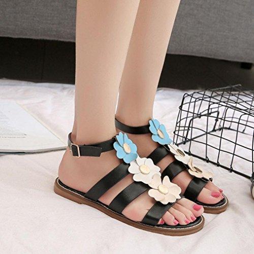 Webla Damen Sommer Sandalen Schuhe Peep-Toe Low Schuhe Römische Sandalen Damen Flip Flops Schwarz