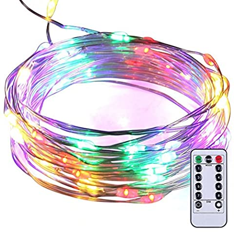Fairy String Lights 8 Modes 50 LED Dimmable 5 M Silver Wire Light, SATUBROWN Battery Operated Waterproof Lighting Jars &Tables Valentines Decorations with Remote Control