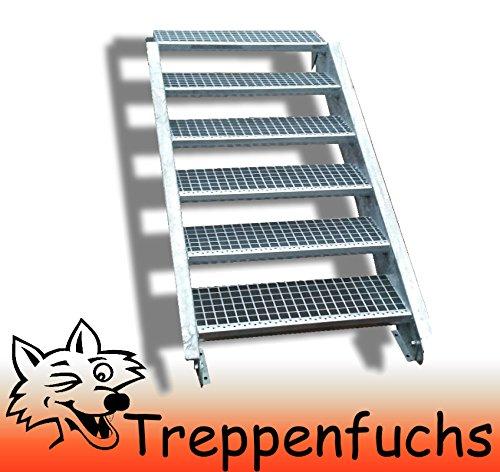 6 Stufen Stahltreppe Breite 110cm Geschosshöhe 90-120cm / Robuste Außentreppe / Wangentreppe / Stabile Industrietreppe für den Außenbereich / Inklusive Zubehör