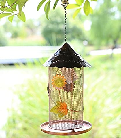 Metal Bird Feeder, Pilz Typ Vogel Feede Hanging Type, 16 × 16 × 55.5Cm, Schwarz (Anti-eichhörnchen Bird Feeder)