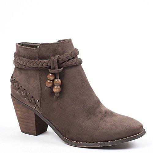 Ideal Shoes–Scarponcini con tacco spessa effetto camoscio con cinturone intrecciato Tallula Grigio