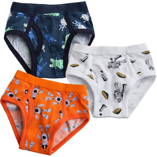 Vaenait Baby Toddler Kids Boys Underwear Brief 3-Pack Set Power Robot XL