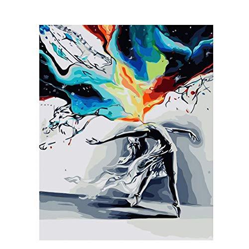 """Painting-YC Mach Es Selbst Malen Nach Zahlen Kits Geschenk Für Erwachsene Kinder Home Haus Dekor Abstrakter Tanz 16×20\"""" Kombinationsrahmen"""