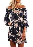 Wort Kleid Damen Schulterfrei Midikleid Neckholderkleider Sommerkleid, blau mit Blumenmuster, XL