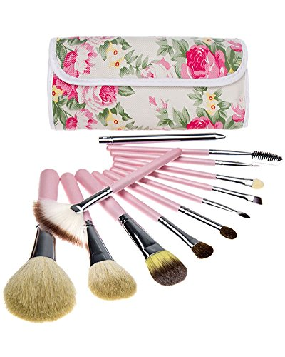 AKAAYUKO 12PCS Kit De Pinceau Maquillage Professionnel Pinceaux Makeup Brushes -Rose