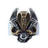 PAMTIER Uomo Acciaio Inossidabile Motociclo Motore Biker Anello Annata Cobra Serpente Animale Banda Nero Misura 22