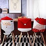Tatuo 4 Stück Weihnachten Stuhlhussen Deko, Weihnachtsmann Red Hat Schneeflocke Stuhl Xmas Cap, Küche Esszimmerstuhl Slipcovers Sets für Weihnachtsfeiertage Festliche Dekorationen (Rote Santa-Mütze)