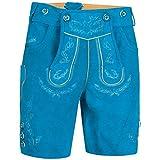 PAULGOS Herren Trachten Lederhose + Träger, Echtes Leder, Kurz in 5 Farben Gr. 44-60 HK1, Herren Größe:48, Farbe:Blau