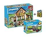 PLAYMOBIL® 5120 - Bauernhaus mit Hofladen und 5121 - Riesen Traktor mit Anhänger und Minibuch