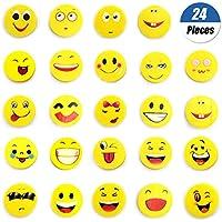 YuChiSX 24 x Emoji Emoticon lápiz Gomas borrar Lindos Regalos, de Gomas de borrar con emoticonospara Fiesta cumpleaños niños Festival año Nuevo Navidad Regalo Juguete