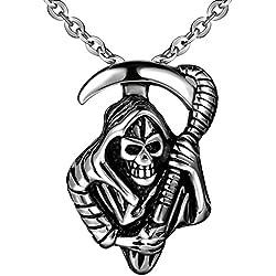 Colgante de acero inoxidable con calavera pirata y rifle.