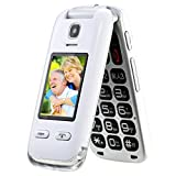 Obooy EG520 Unlocked GSM Clamshell Cell Phone, Big Button, Dual Screen with Large